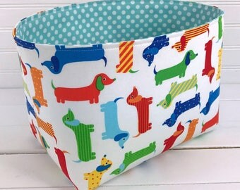 Storage Bin,Organizer Basket,Bin, Rainbow Nursery Decor,Fabric Basket Bin,Home Decor,Rainbow,Wiener Dog,Dachshund,Dog,Puppy,Red,Aqua Blue