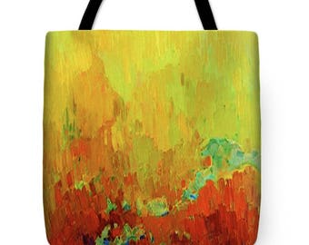 Southwest Arizona Sunset Tote Bag - SilkyPoly Sunset Throw Pillow - Abstract Sunset Tote Bag - ReUsable Shopping Bag - Contemporary Decor