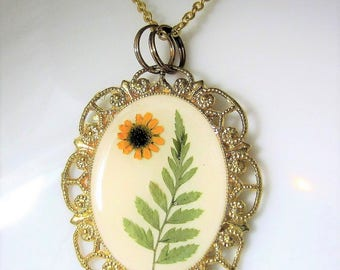 A Fern in the Sun, Pressed Flower Pendant, Real Flower Necklace,  Resin (2080)