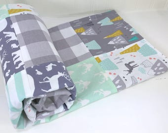Woodland Baby Blanket Woodland Crib Bedding Woodland Nursery Decor Buffalo Check Mint Green Gray Grey Mustard Mint Deer Mountains