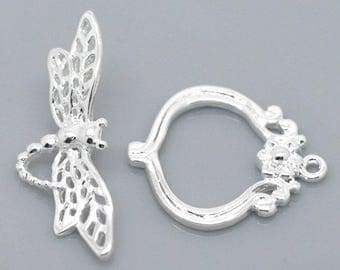 Silver Plated Dragonfly Toggle Clasp - Clasps