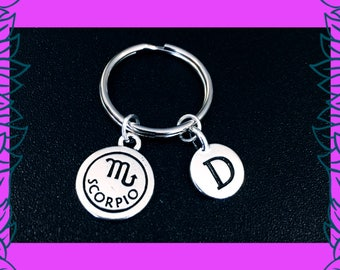 Scorpio keyring, October November birthday gift idea, zodiac horoscope astrology key chain, personalised initial letter charm key ring, UK