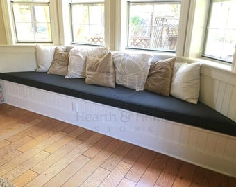 Custom Bay Window Seat Cushion With Cording Trapezoid Cushion Custom Cushion Bench Seat