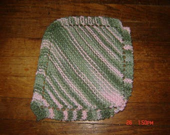 Hand Knit Dishcloth 100% Cotton Homemade Washcloth Pink Camo