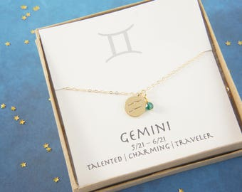 gold zodiac Gemini necklace, birthday gift, custom personalized, gift for women girl, minimalist, simple necklace, layered