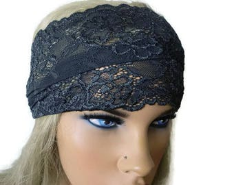 Charcoal gray Stretch Lace Headband, Bridesmaids Hair Wrap-Anytime fashion-Summer headbands-Summer fashion (007)
