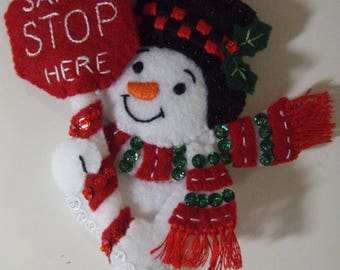 Bucilla Felt SANTA Ornament From The Santa Stop Here Collection