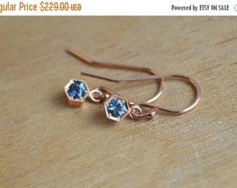 SALE Spinel Earrings, August Birthstone Earrings, Rose Gold Earrings, Blue Gemstone Dangly Earrings, Rose Gold Dangly Earrings, Tanzanian Sp