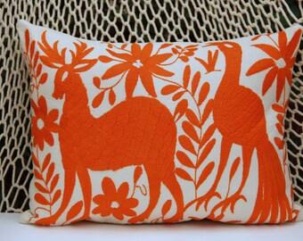 Tangerine orange Pillow Sham-Otomi Embroidery Ready to ship.