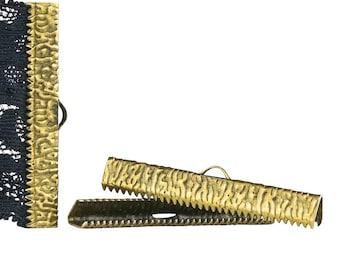 50 pieces  40mm  ( 1 9/16 inch ) Antique Bronze Ribbon Clamp End Crimps - Artisan Series