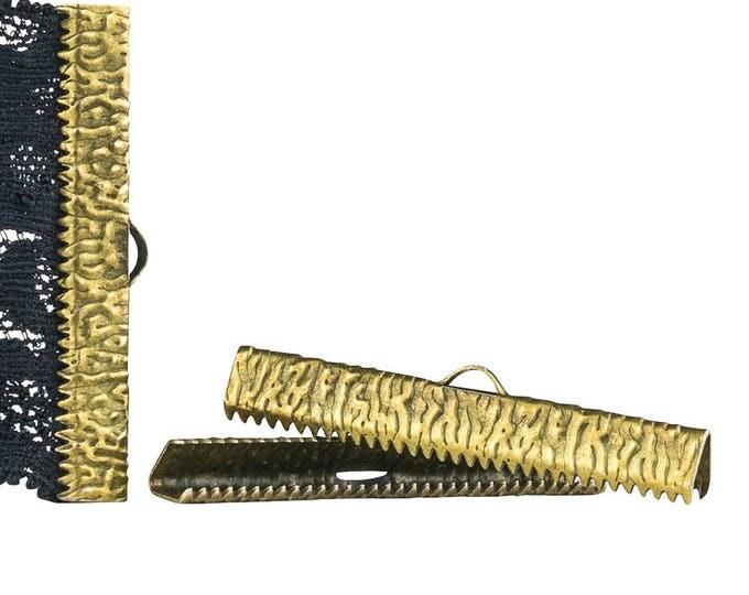 50pcs.  40mm  ( 1 9/16 inch ) Antique Bronze Ribbon Clamp End Crimps - Artisan Series