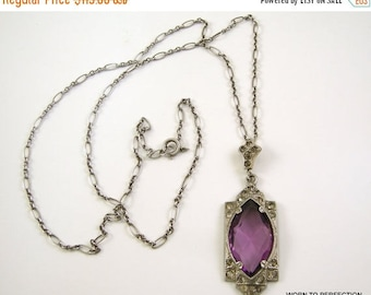 45% off Sale Pot Metal Art Deco Pendant with Purple Glass and Rhinestones