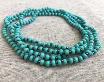 Long Beaded Turquoise Necklace, Boho Jewelry, Beaded Jewelry, Unique Jewelry, Turquoise Beaded Necklace, Summer Necklace, Gifts for Her
