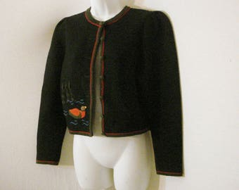Black Cardigan Sweater Hand Embroidered Switzerland by Muhlebach & Birrer SM