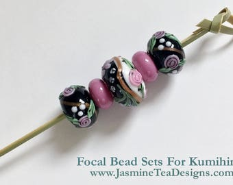 Pink, Rose And Black Floral Focal Bead Set, Set of Five Focal Beads, Large Hole Focal Beads For Beaded Kumihimo