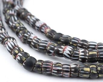 125 Antique Black & White Yellow Jacket Chevron Beads: Old Chevron Beads African Trade Beads Glass Trade Beads (CHV-UNU-BLK-237)