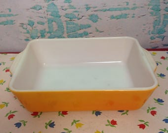 Vintage Pyrex orange Daisy 503 fridgie refrigerator dish no lid kitchen cooking baking chef food storage
