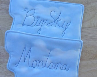 Big Sky Montana Pot Holders - Montana Shaped - Novelty Montana Souvenir - Two Matching Quilted Hot Pads - Insulated Batting