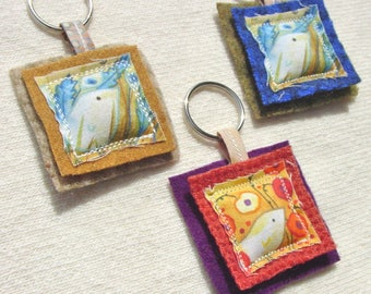 Bird Illustration Key Ring - You Choose One of Three Shown - Wool and Cotton - Pillow Key Ring