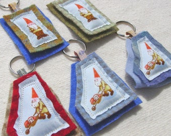 Gnome Key Ring - You Choose ONE of Five Shown - Wool and Cotton - Pillow Key Ring - Heather Ross Gnomes
