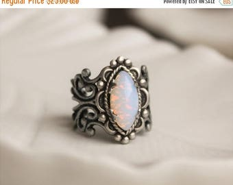 VACATION SALE- Pin Fire Opal Navette Filigree Ring. Vintage Jewel Ring