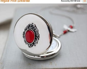 VACATION SALE- Ruby Red Pocket Watch Necklace. Dragonfly Necklace