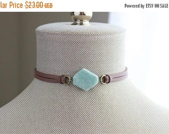 VACATION SALE- Amazonite Suede Choker