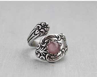 VACATION SALE- Rose Quartz Spoon Ring