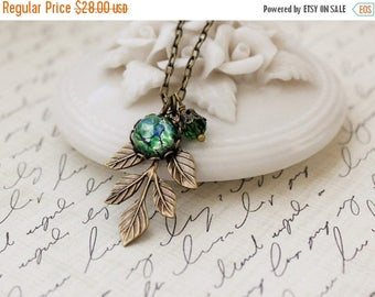 VACATION SALE- Woodland Leaf Necklace. Green Opal.