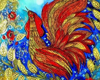 Print on Paper, Rooster in The Wheat Field, Ukrainian Folk Art, by Olena Diadenko