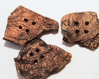 Three Large Rustic Buttons, Handmade Ceramic Clay Textured orange black peach