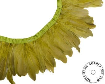 """Feather Trim - Goose Feather Satinette Fringe Trims - Pear Green - 5""""-7"""" (1 yard)"""