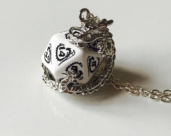 dragon necklace dungeons and dragons pendant D20 dice necklace dice jewelry D20 necklace dragon jewelry white black red dice geek