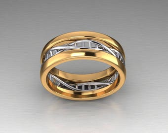 14k White and yellow gold DNA ring.