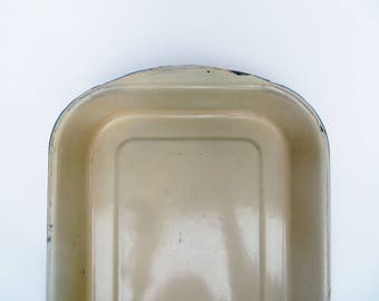 Green Enamelware Rectangle Pan Small Ivory Off White Rustic Bake
