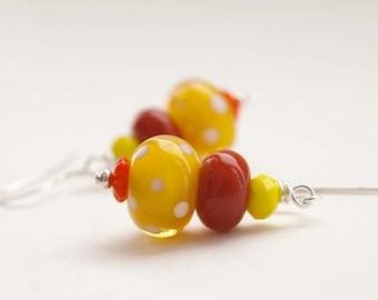 SALE Yellow Earrings, Polka Dot Earrings, Lampwork Glass Earrings, Bright Earrings, Beaded Earrings