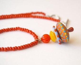 SALE Colorful Pendant Necklace, Polka Dot Necklace, Red Necklace, Beaded Necklace, Lampwork Glass Bead Necklace