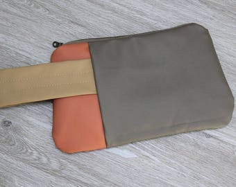 Color Blocked Vegan Leather Wristlet, Salvaged Upholstery Clutch, Large Zip Pouch, Brown with Gold and Coral