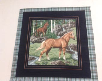 Fabric Panel of Horses with trees and stream 248078