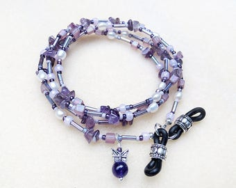 Boho Beaded Pearl Eyeglass Chain, Amethyst, Freshwater Pearls, Butterfly Charm, Silver, Lavender, Purple, Handmade Reading Glasses Necklace