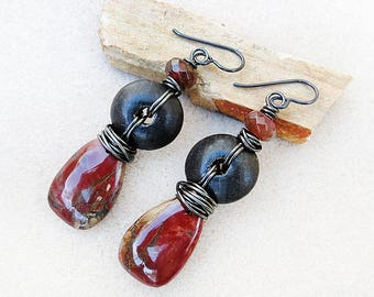 Drop Earrings, Rustic, Boho, Red Creek Jasper, Agate, Wood, Niobium, Hypoallergenic, Non-allergenic, Black, Brown, Red, Gift for Her