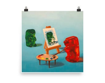 Artist Gummy - Art Print - from original painting, realism, humor, cute, narrative, kitsch, whimsical, candy, funny, artist, model