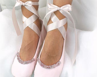 Light Pink Wedding Ballet Flats Beaded with Crystals, Elegant Cotton Bridal Flats with Ankle Straps
