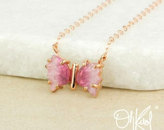 Ombre Pink Tourmaline Butterfly Necklace - Rose Gold - One of a Kind