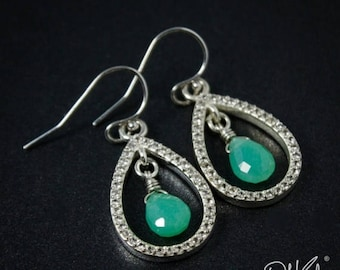 ON SALE Silver Mint Green Chrysoprase & Pave White Topaz Teardrop Earrings - 925 Silver