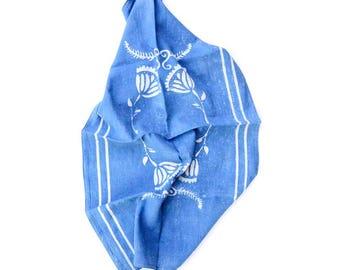 Tea Towel Cotton Kitchen Towel Blue Indigo bohemian boho Home and Living home decor block print house warming Gift for the home - DANISH