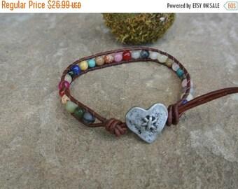 SALE 60% OFF Heart Gemstone Beaded Leather Bracelet / Anklet