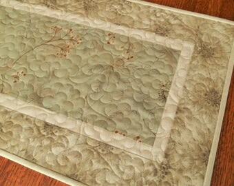 Quilted Table Runner in Neutral Shades of Green Taupe and Cream, Narrow Table Runner, Dresser Runner, Bedroom Decor, Neutral Floral Runner