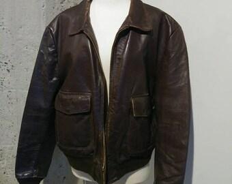 Vintage 50s men's bomber steer hide leather jacket