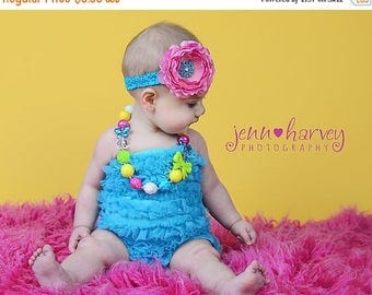 Hot Pink Silk Flower w/ Turquoise Beaded Center Turquoise Stretchy Lace Headband, Baby Toddler Child Girls Headband